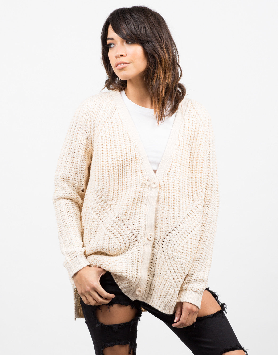 Front View of Holey Sleeves Knitted Cardigan