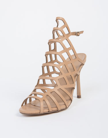 Honeycomb Open Toe Heels
