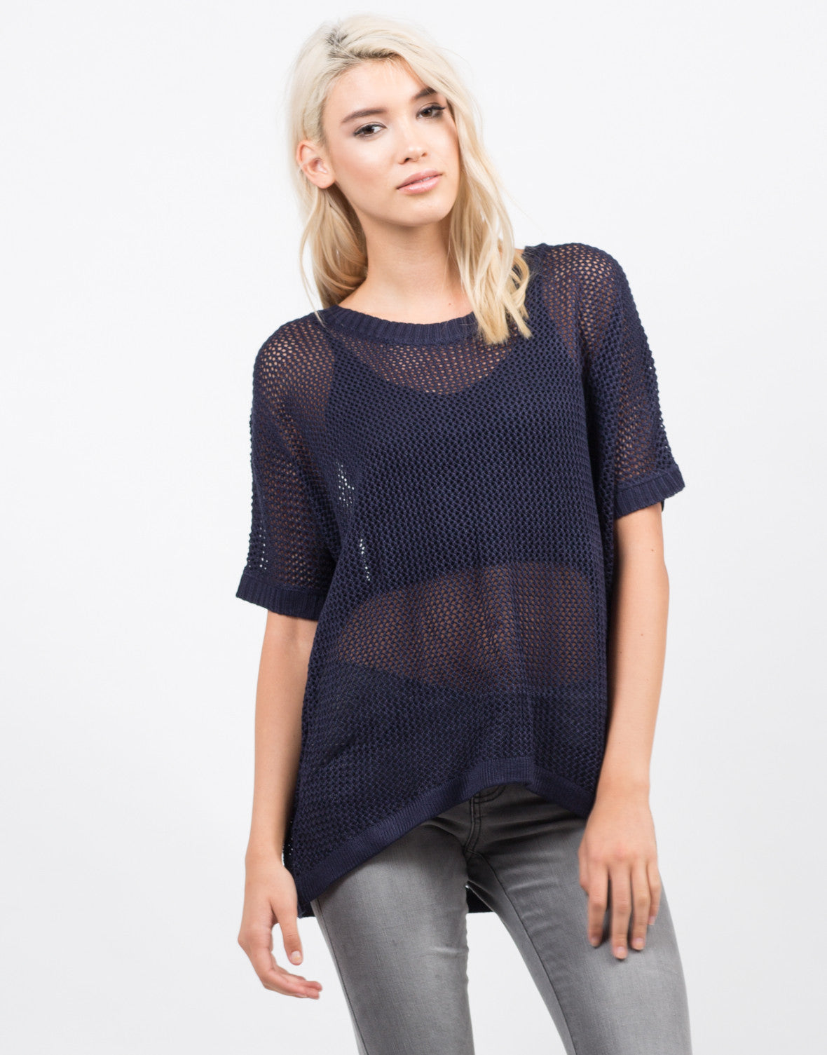 Front View of Honeycomb Knit Top
