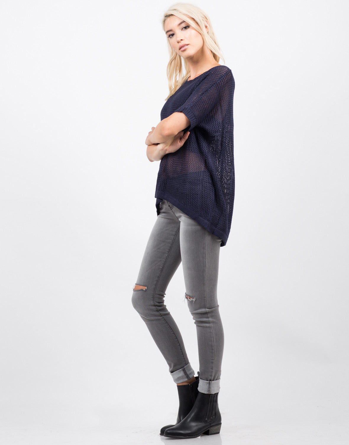 Side View of Honeycomb Knit Top