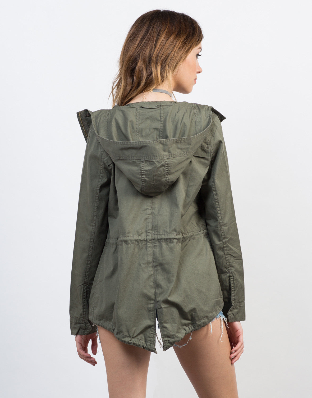 Back View of Hooded Drawstring Parka