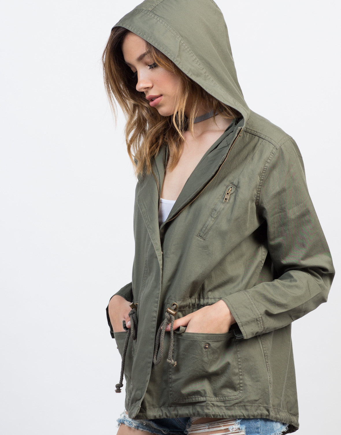 Detail of Hooded Drawstring Parka