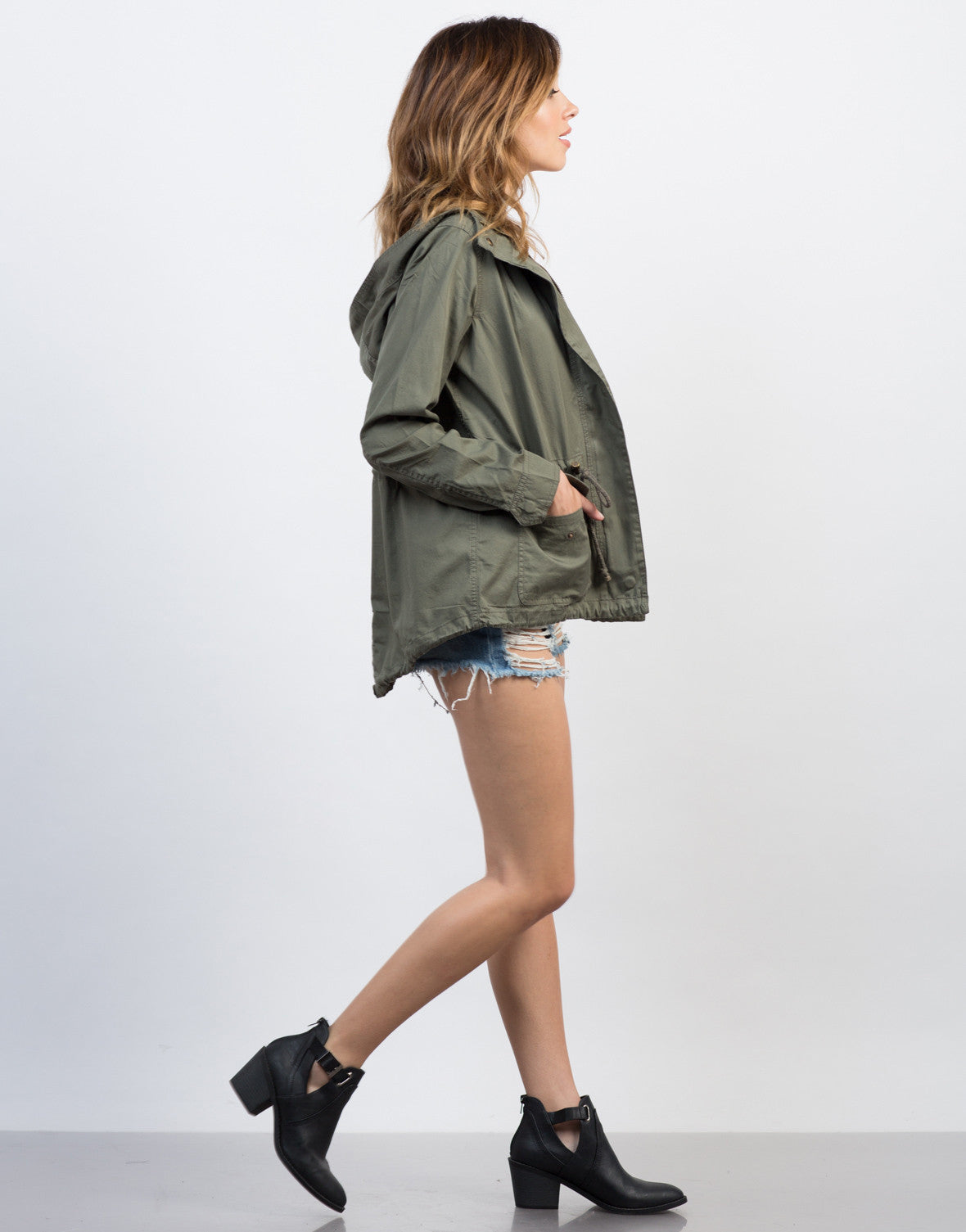 Side View of Hooded Drawstring Parka