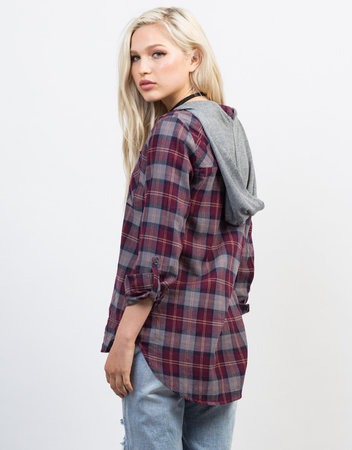 Back View of Hooded Plaid Shirt
