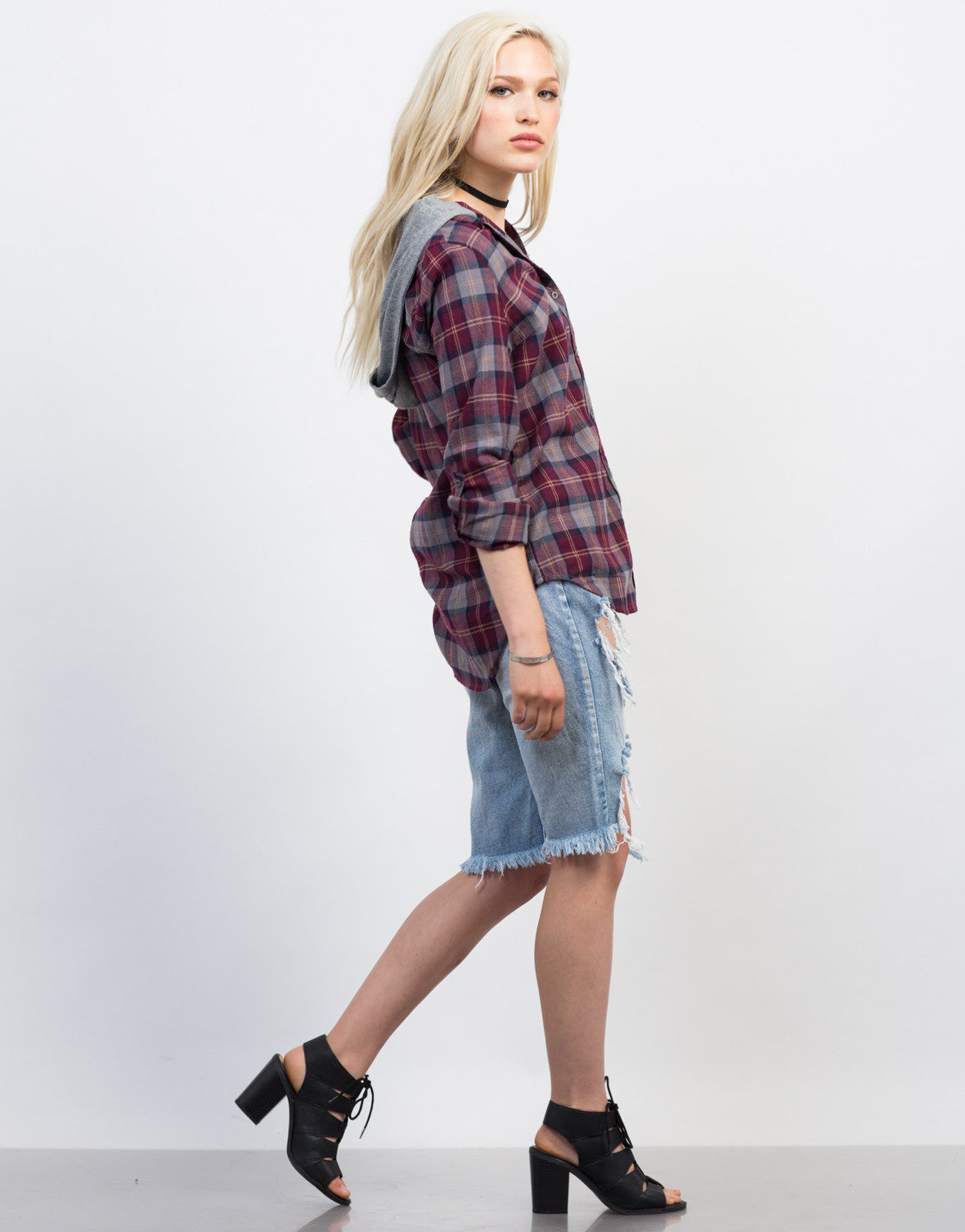Side View of Hooded Plaid Shirt