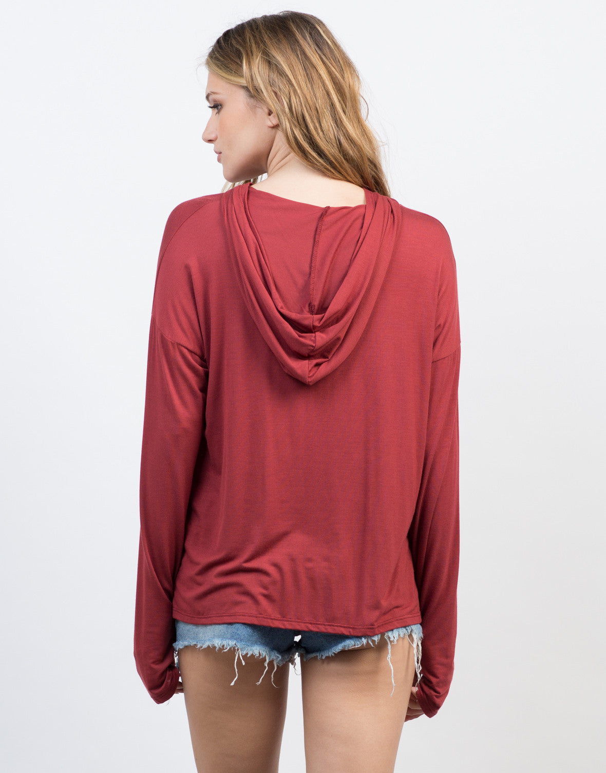 Back View of Hooded Pullover Top