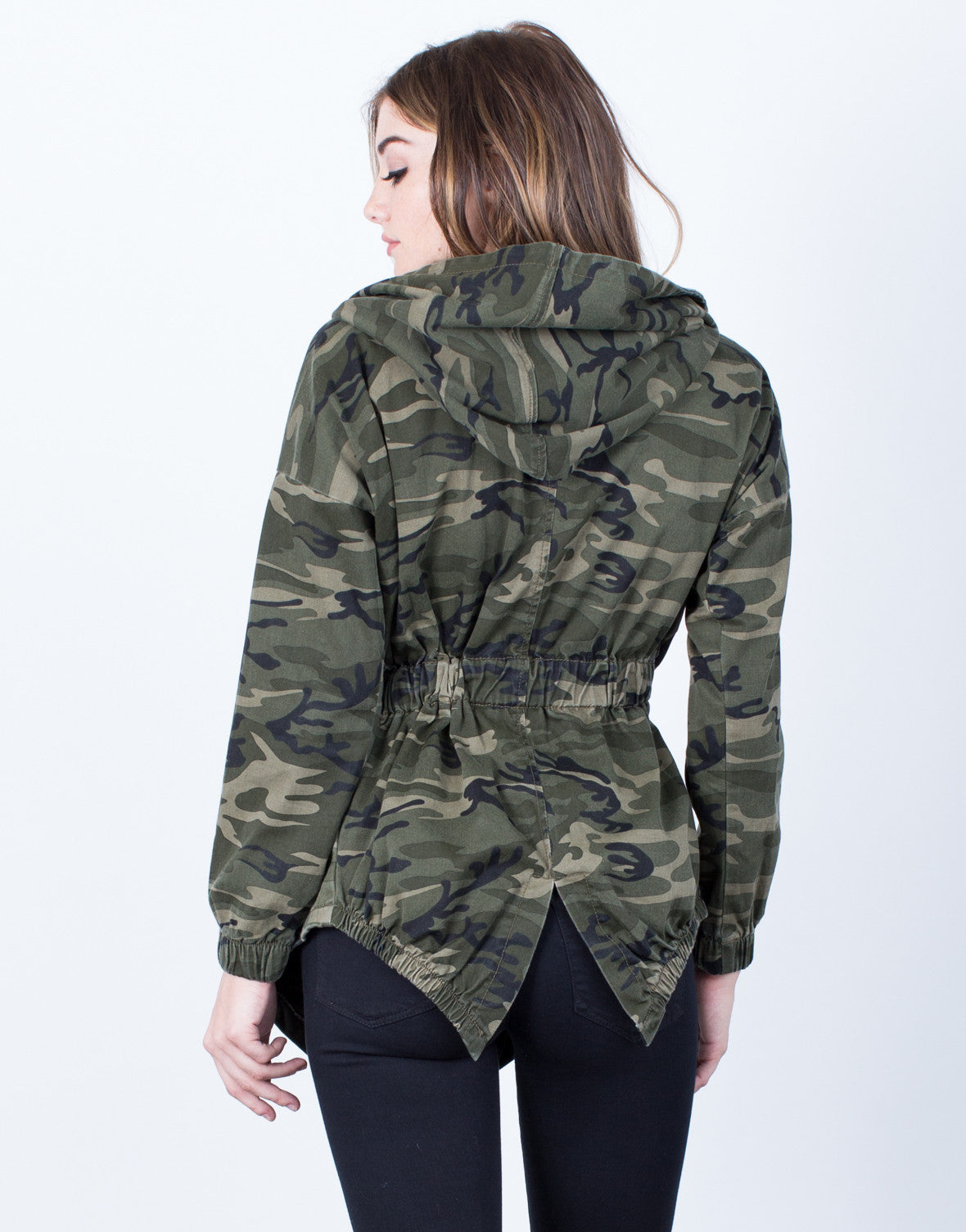 Back View of Hooded Waist Tie Camo Jacket
