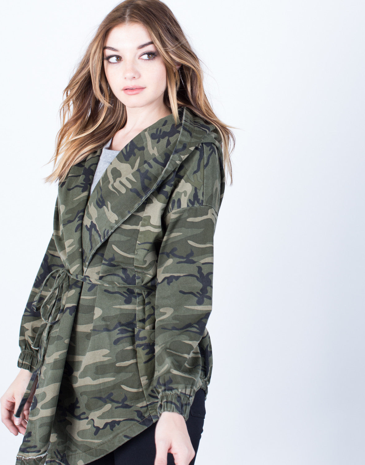 Detail of Hooded Waist Tie Camo Jacket