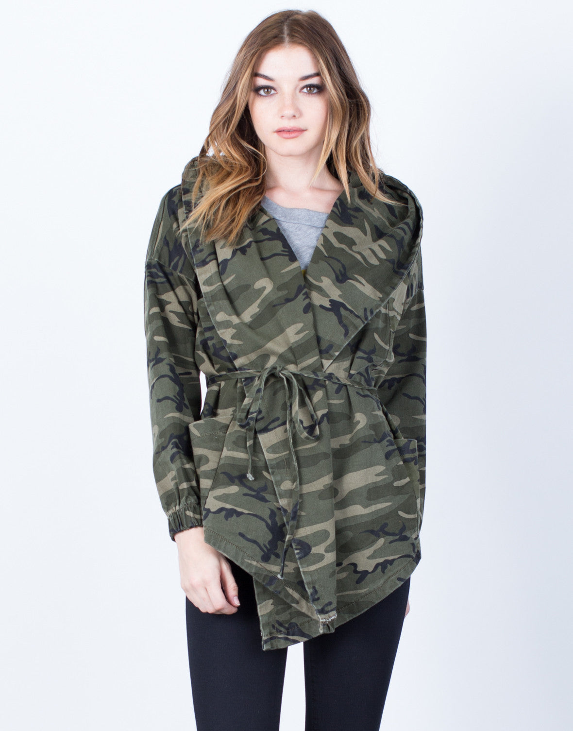 Front View of Hooded Waist Tie Camo Jacket