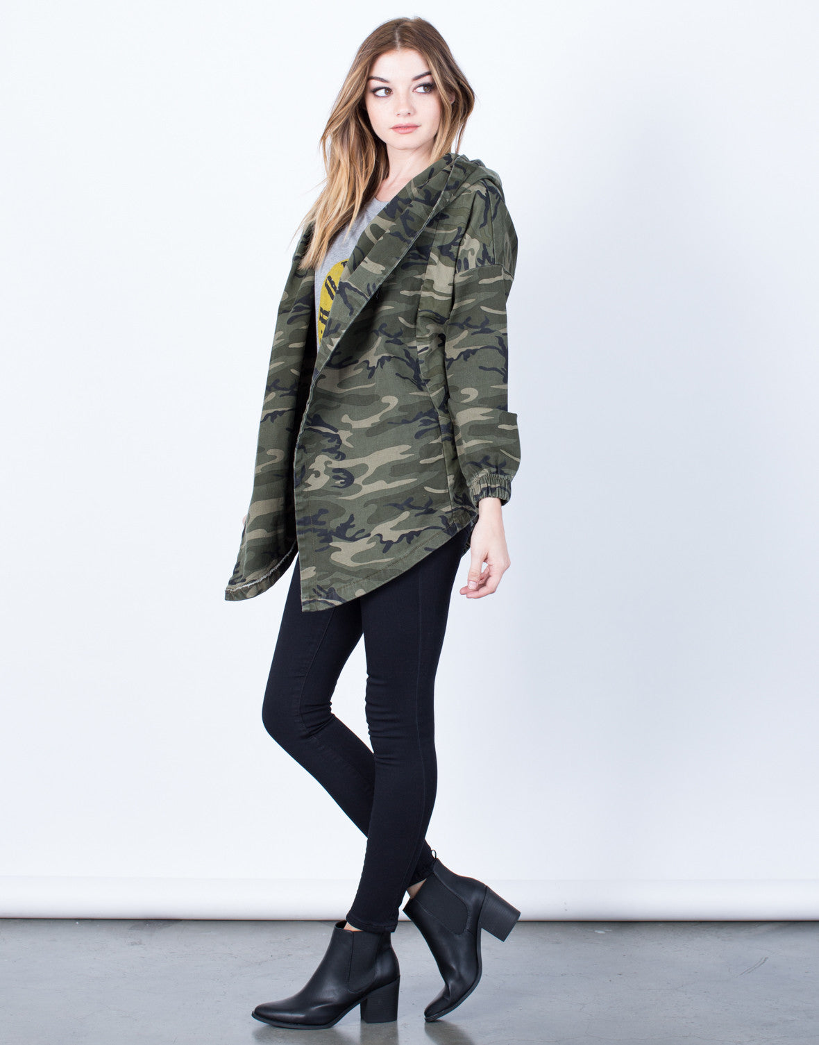 Side View of Hooded Waist Tie Camo Jacket