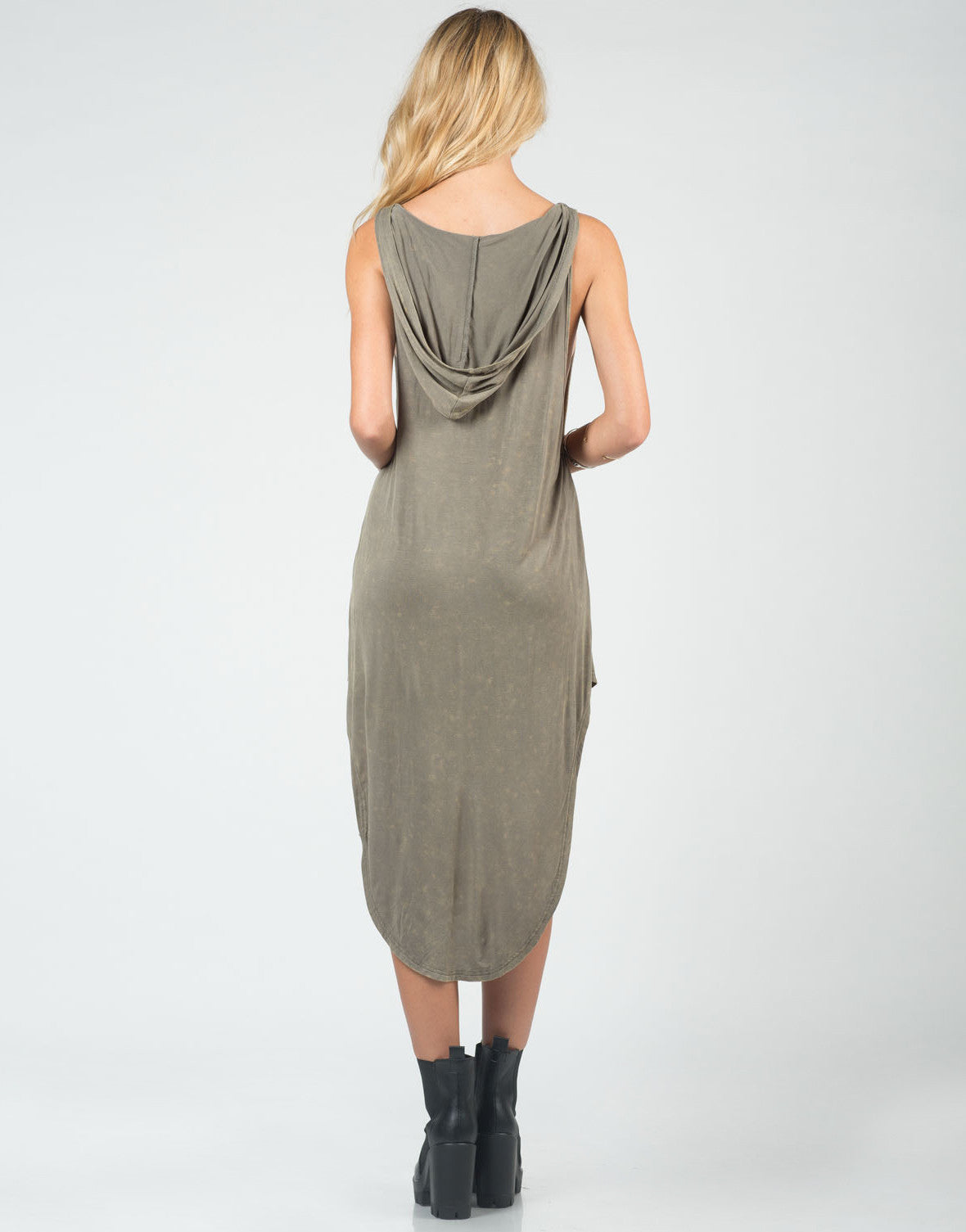 Back View of Hooded Acid Washed Dress