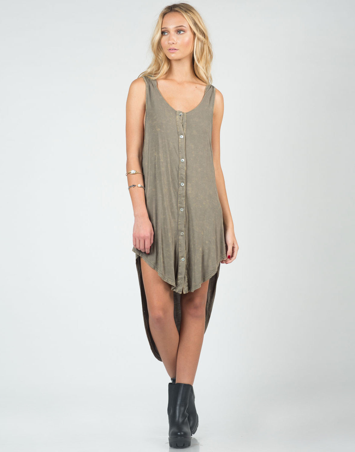 Front View of Hooded Acid Washed Dress