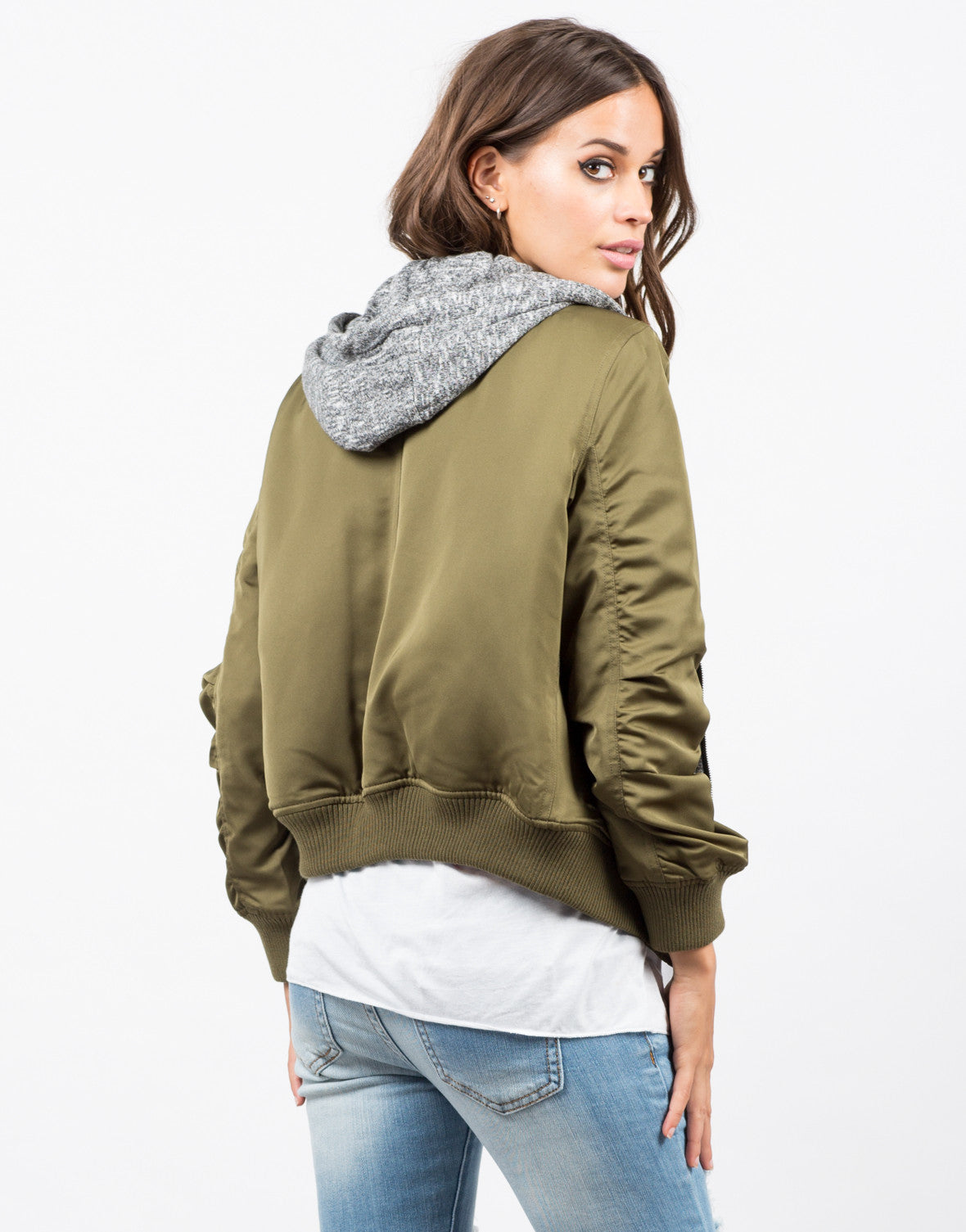 Back View of Hooded Bomber Jacket