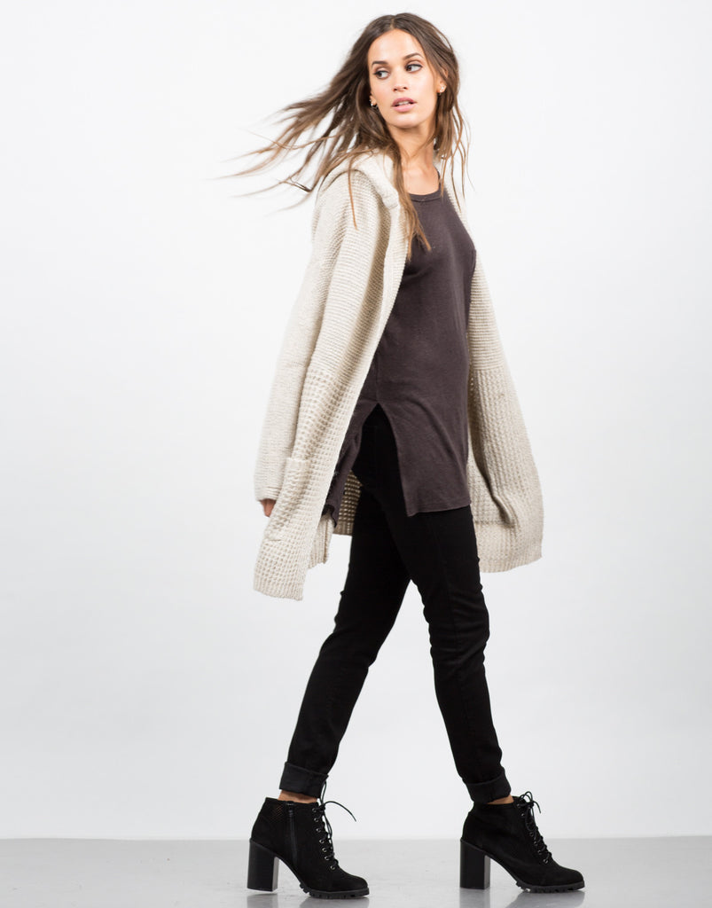 Hooded Chunky Knit Cardigan - 2020AVE