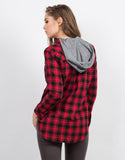 Back View of Hooded Contrast Flannel Shirt