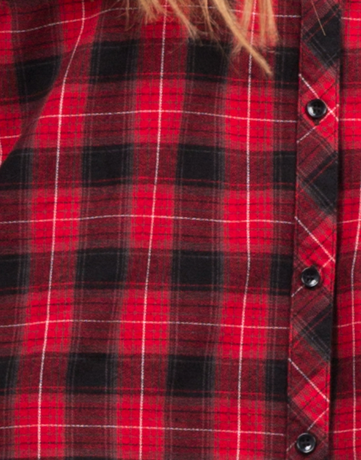 Detail of Hooded Contrast Flannel Shirt
