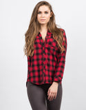 Front View of Hooded Contrast Flannel Shirt