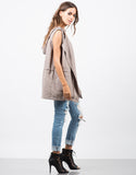 Side View of Hooded Drawstring Drapey Vest