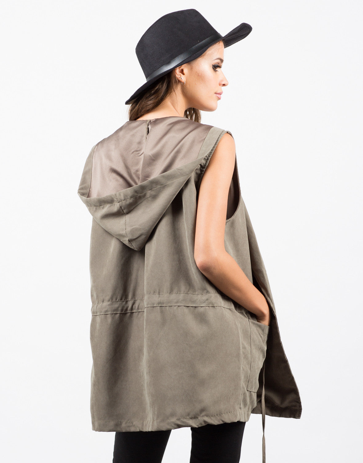 Hooded Drawstring Drapey Vest - 2020AVE