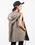 Back View of Hooded Drawstring Drapey Vest