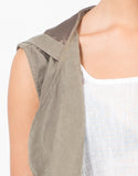 Detail of Hooded Drawstring Drapey Vest