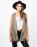 Front View of Hooded Drawstring Drapey Vest