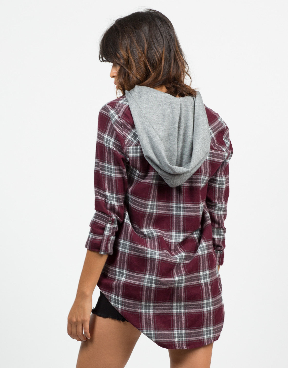 Back View of Hooded Flannel Shirt