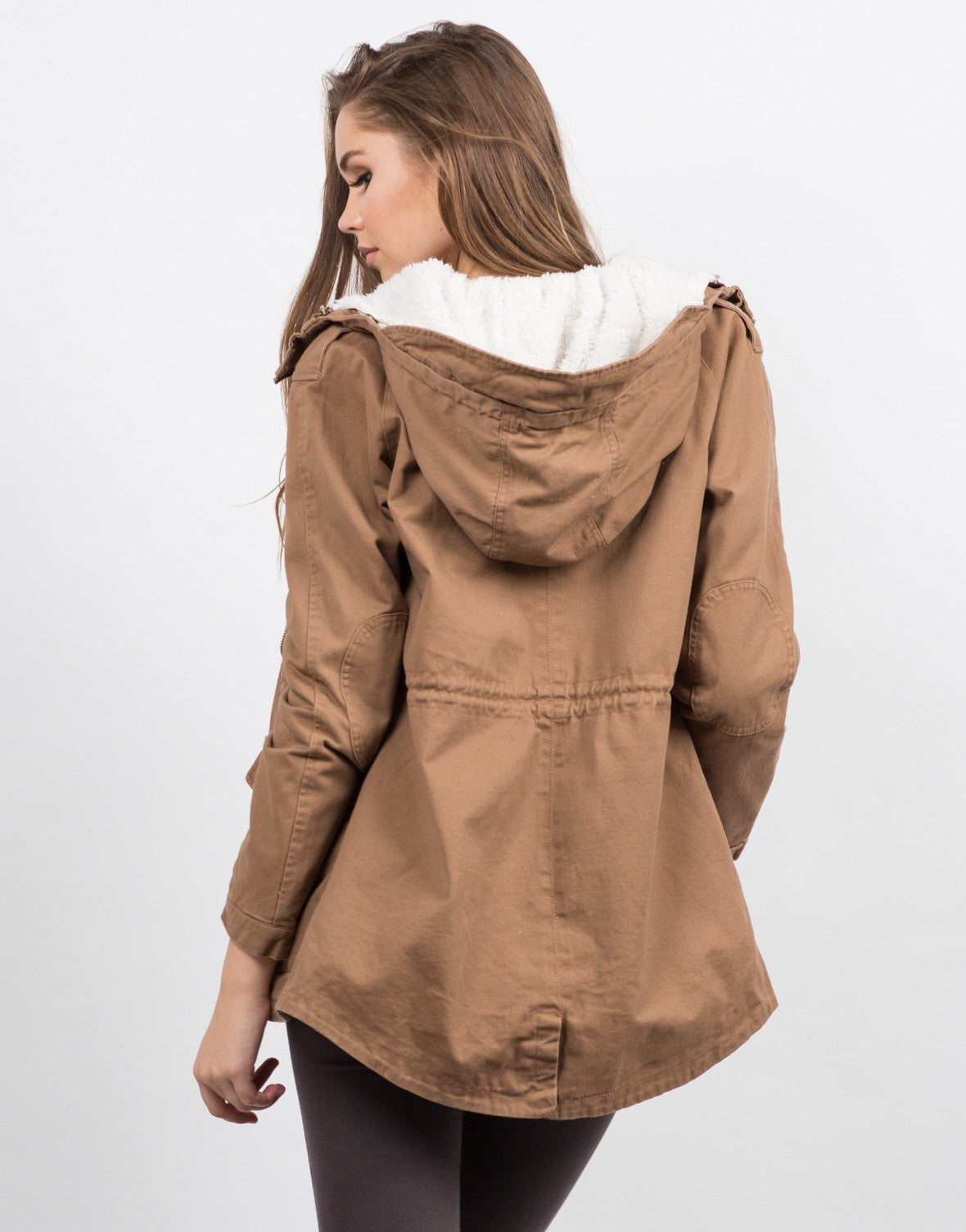Back View of Hooded Fur Lined Coat