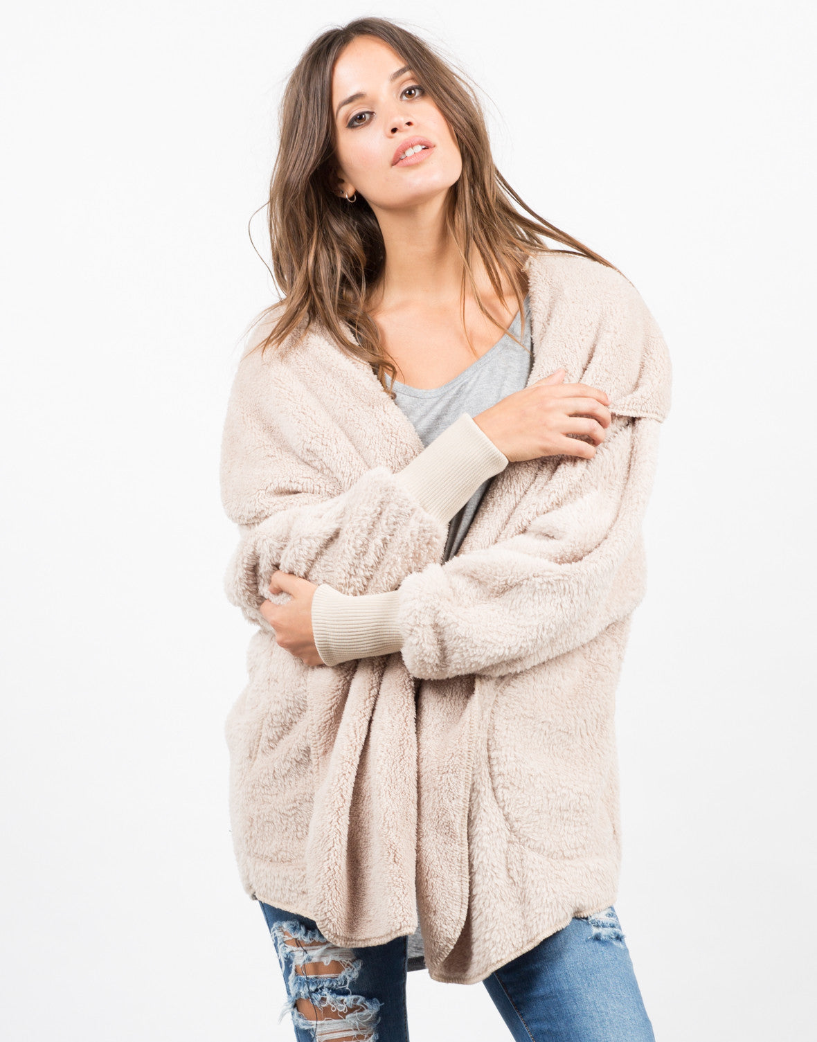Front View of Hooded Jacket Cardigan