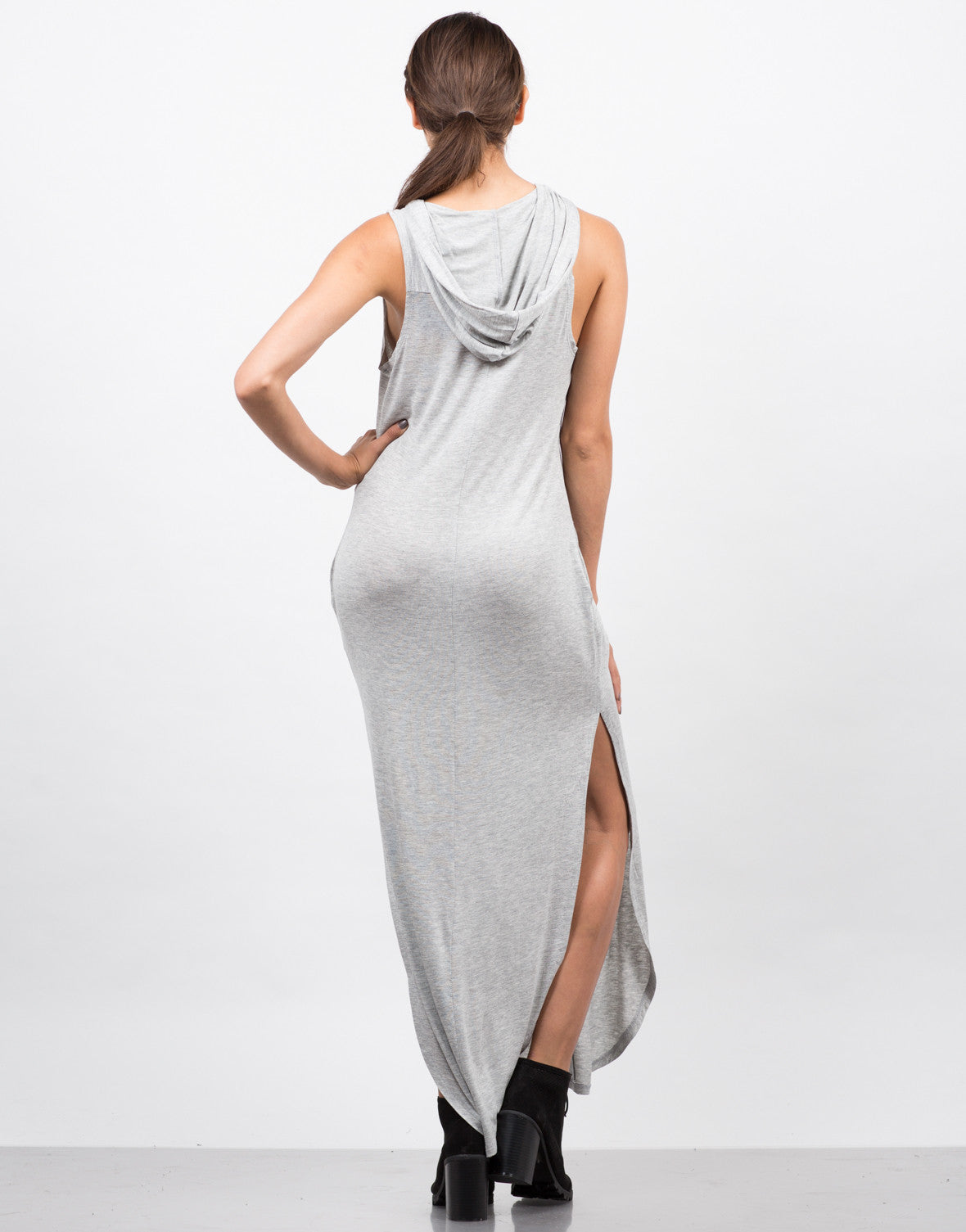 Back View of Hooded Lace Up Sleeveless Dress