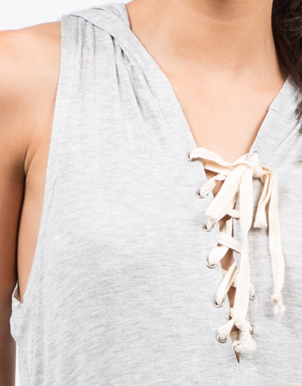 Detail of Hooded Lace Up Sleeveless Dress