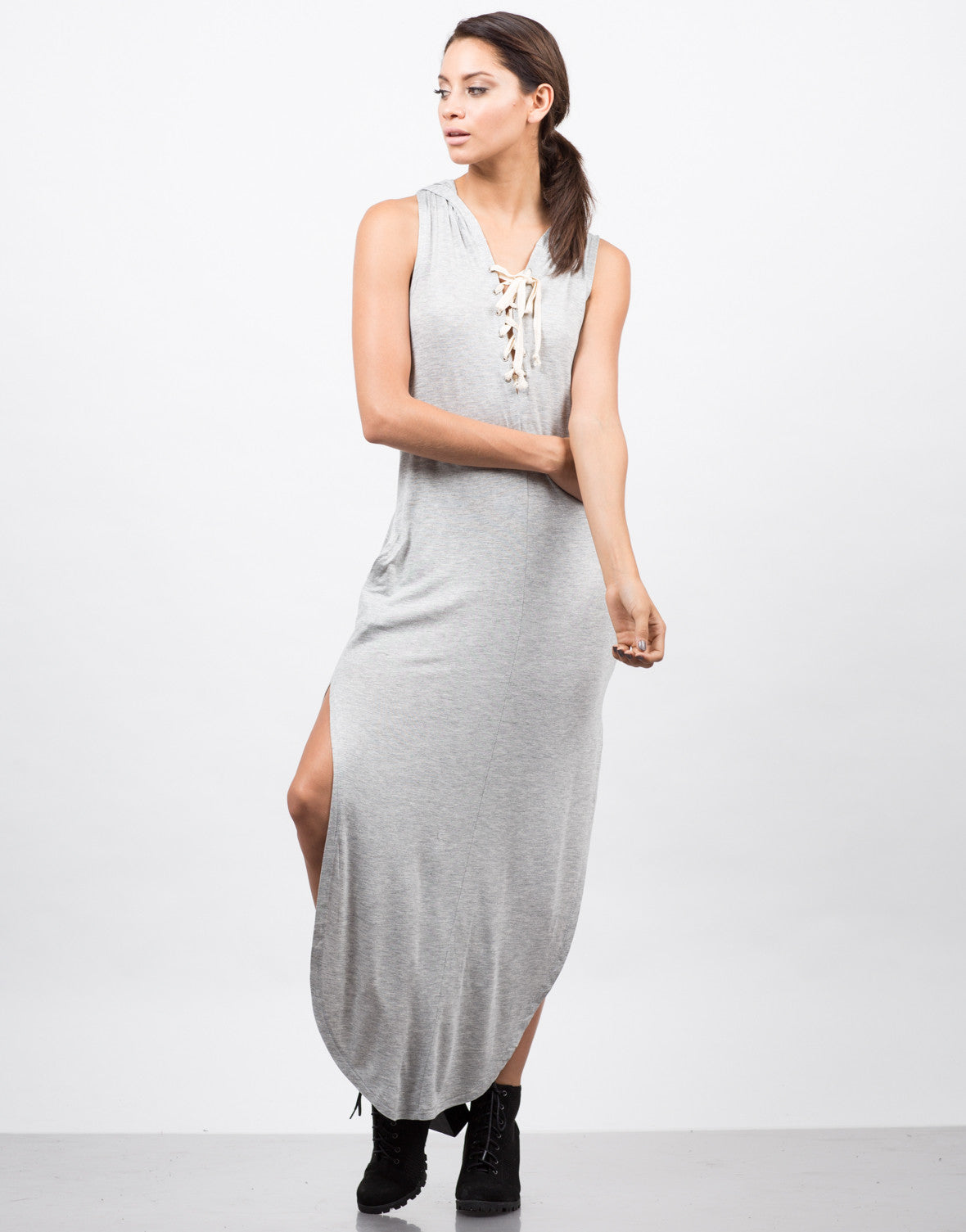 Front View of Hooded Lace Up Sleeveless Dress