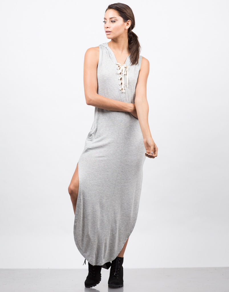 Hooded Lace Up Sleeveless Dress - 2020AVE