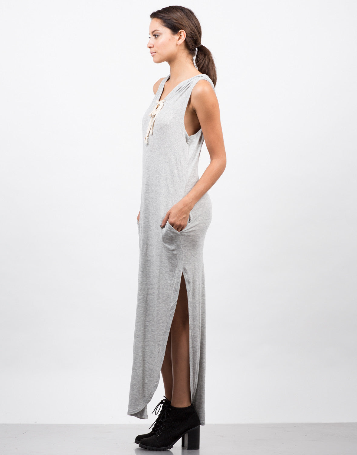 Side View of Hooded Lace Up Sleeveless Dress