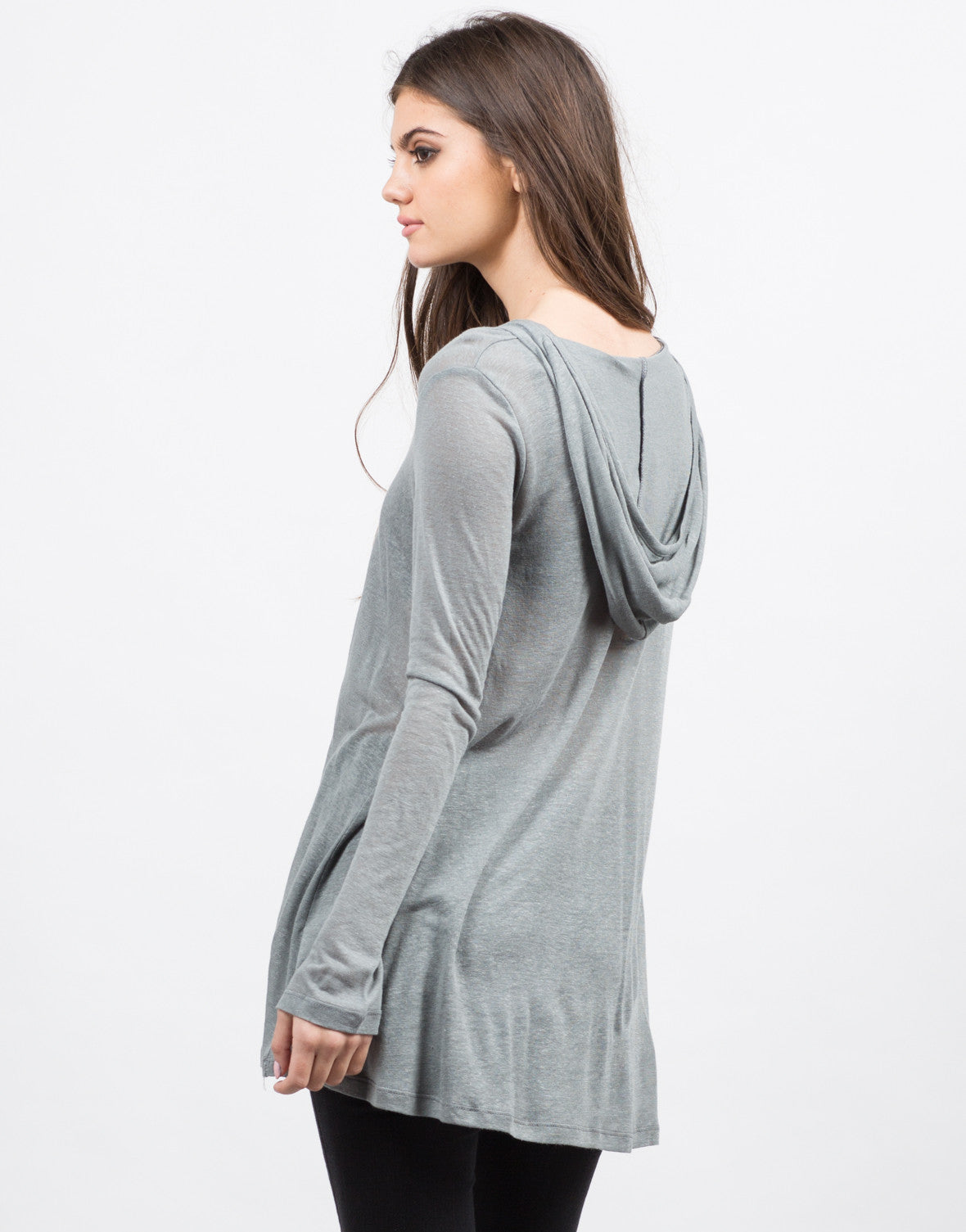 Back View of Hooded Long Sleeve Henley Top