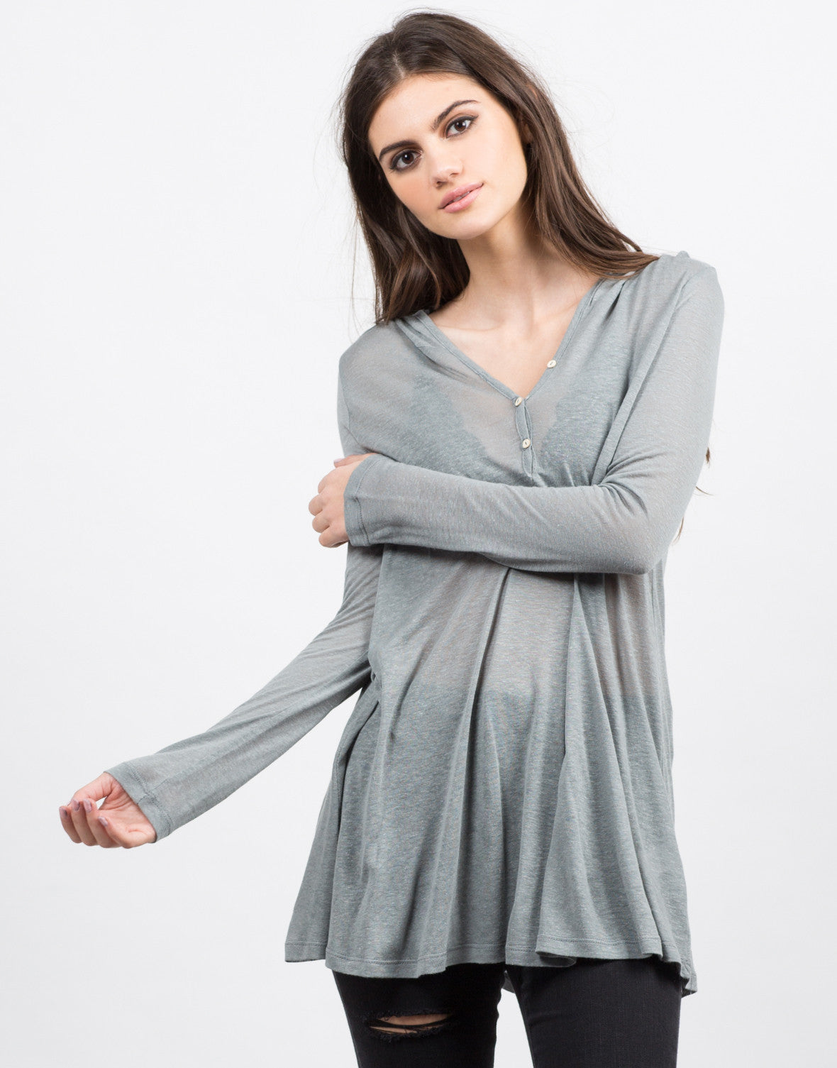 Front View of Hooded Long Sleeve Henley Top