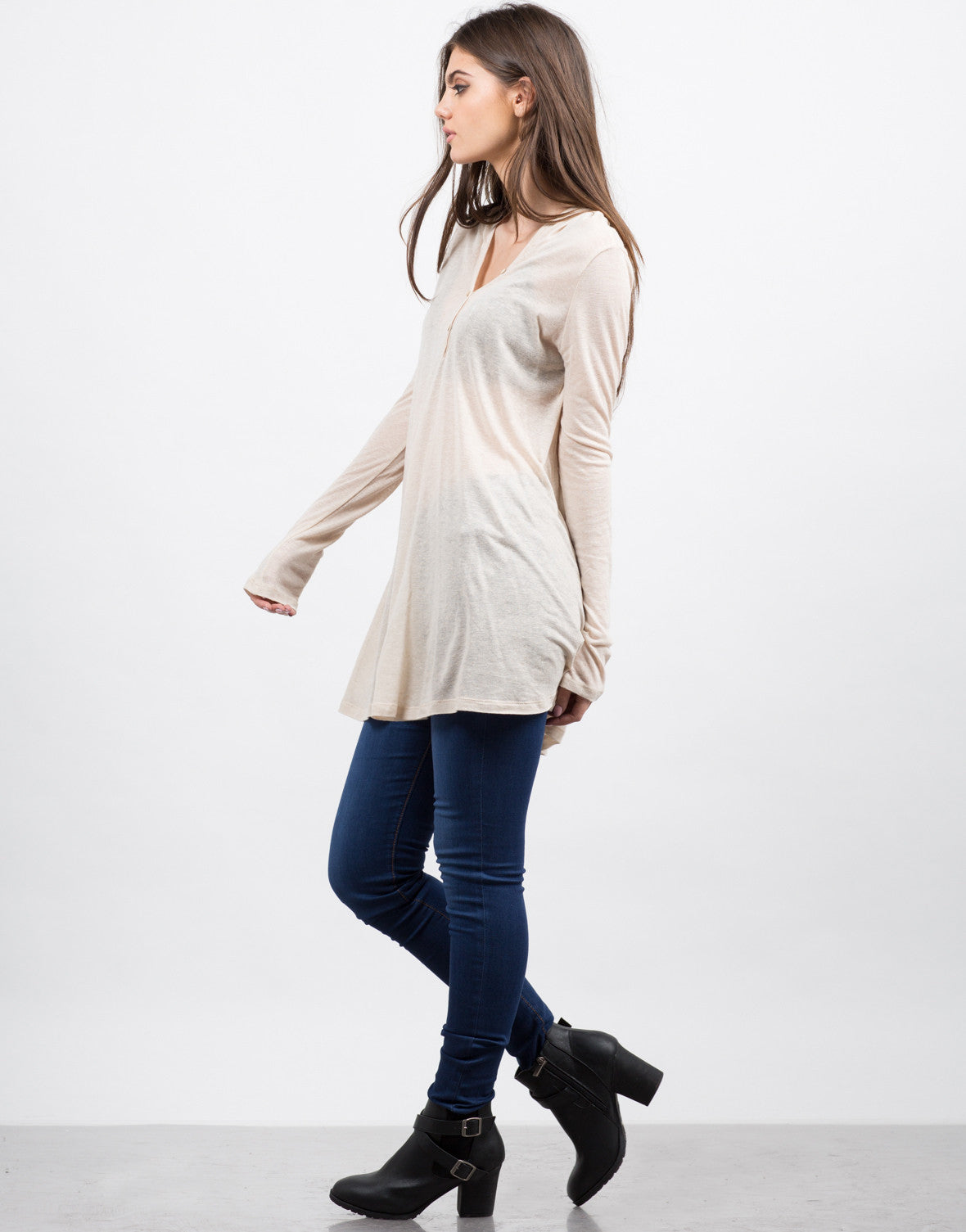 Side View of Hooded Long Sleeve Henley Top