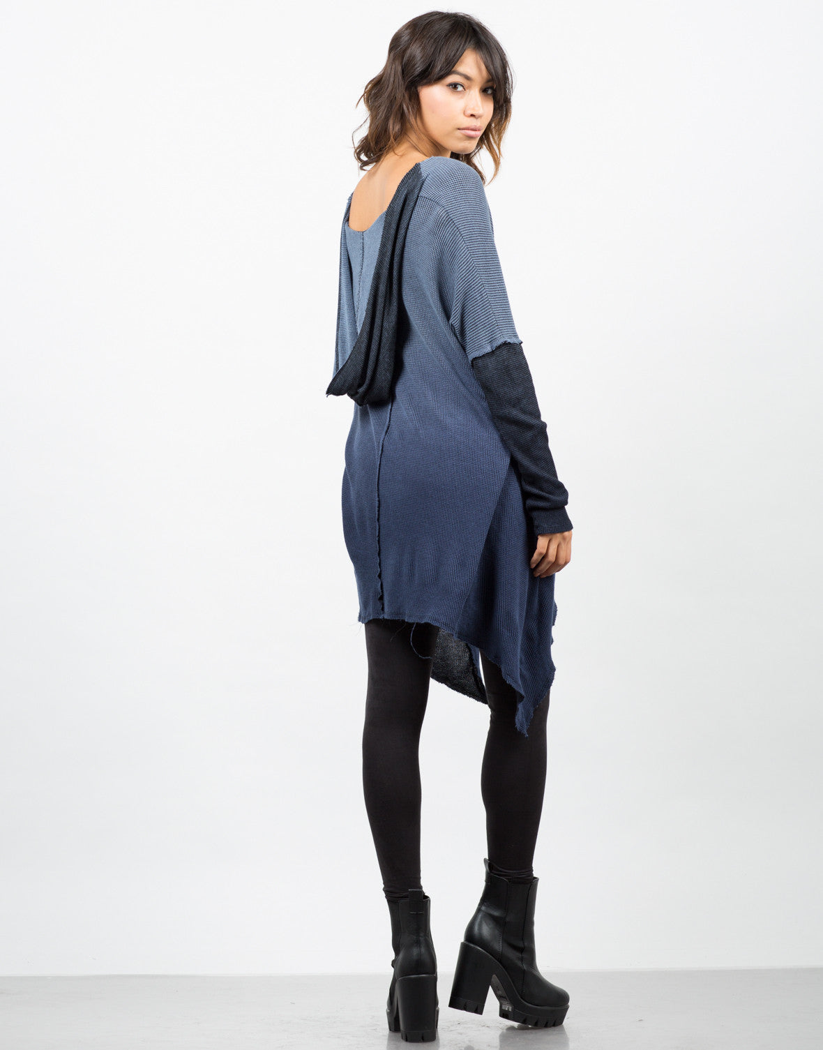 Back View of Hooded Ombre Thermal Tunic