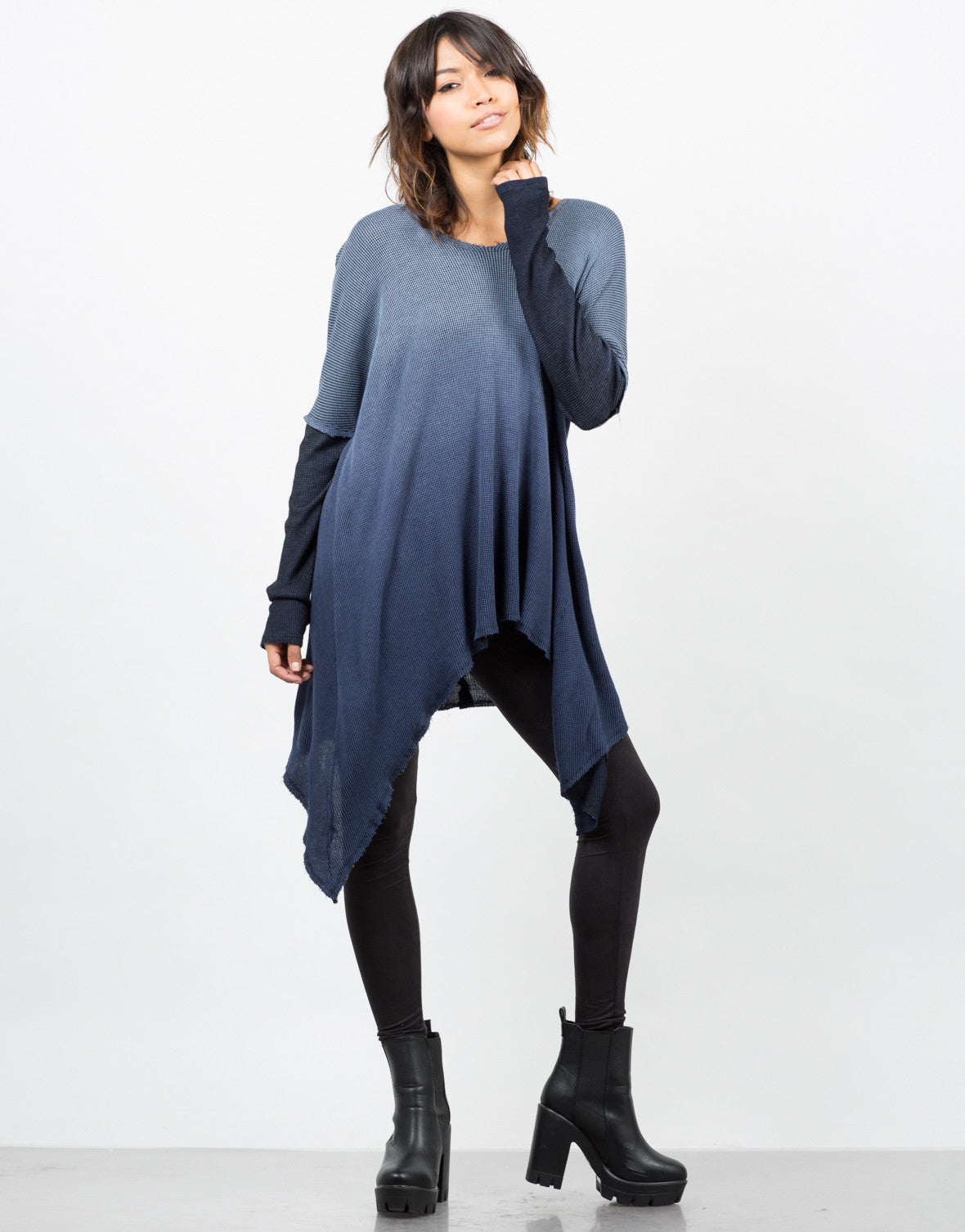 Front View of Hooded Ombre Thermal Tunic