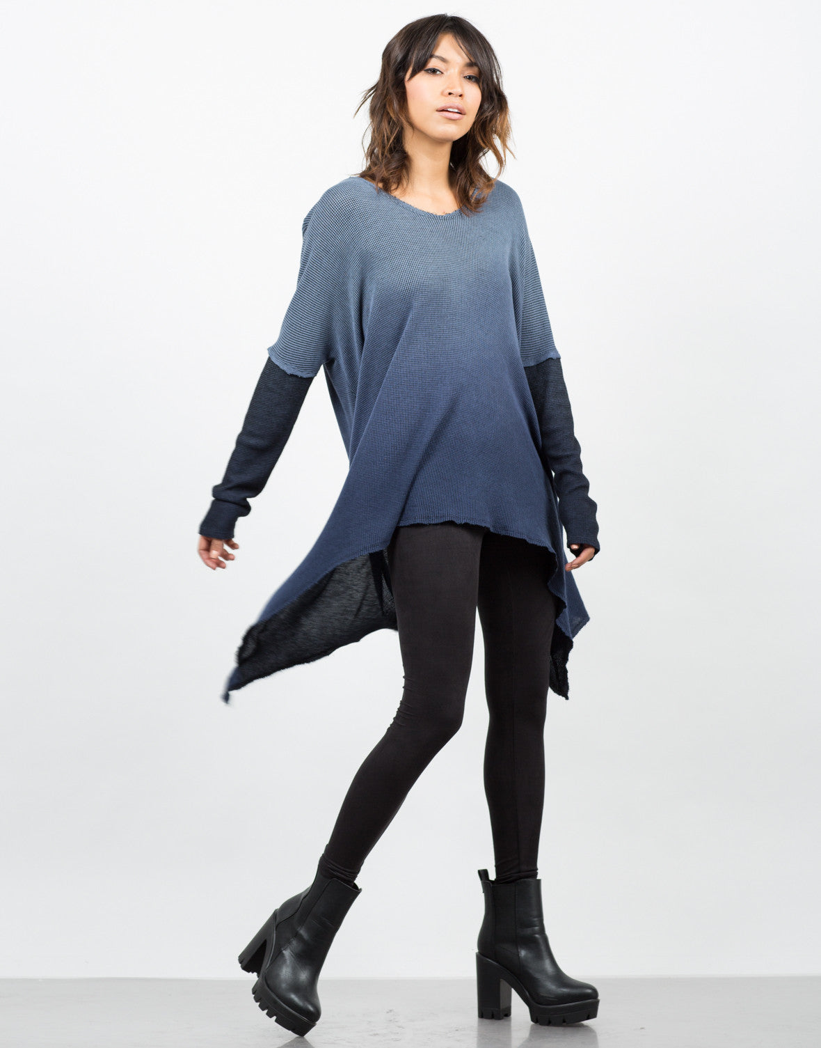 Side View of Hooded Ombre Thermal Tunic