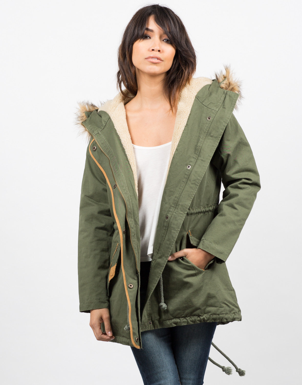 Front View of View of Hooded Parka