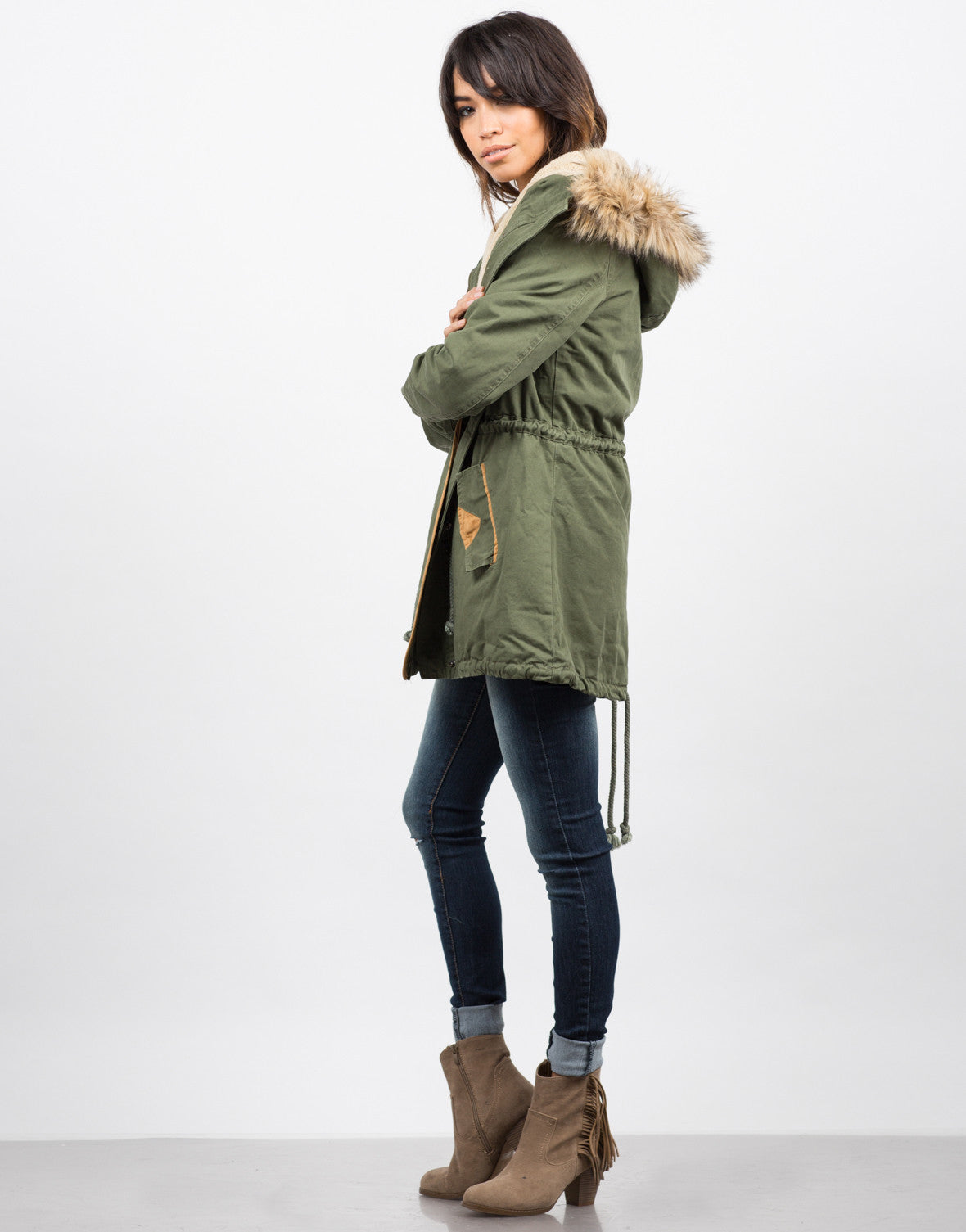 Side View of Hooded Parka