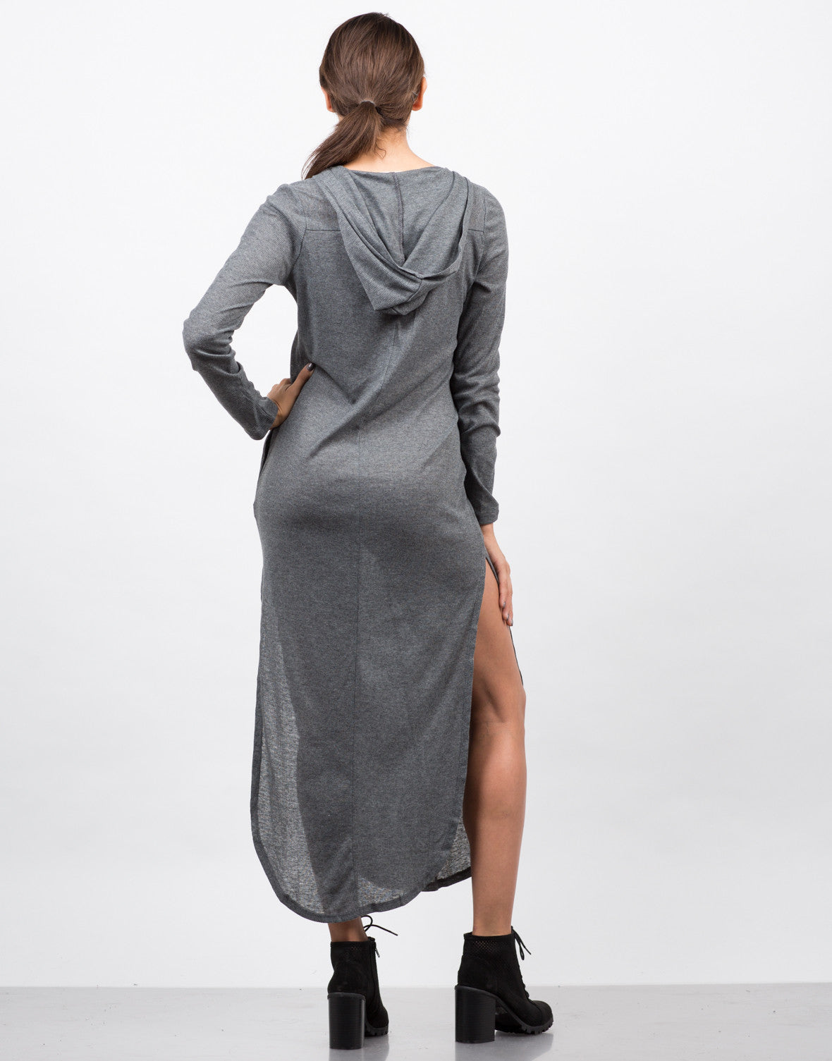 Back View of Hooded Ribbed Lace Up Dress
