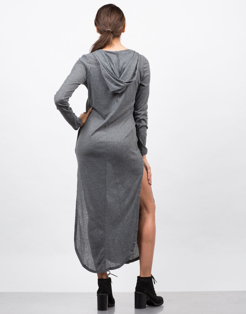 Hooded Ribbed Lace Up Dress - 2020AVE