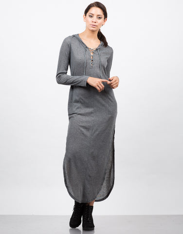 Front View of Hooded Ribbed Lace Up Dress