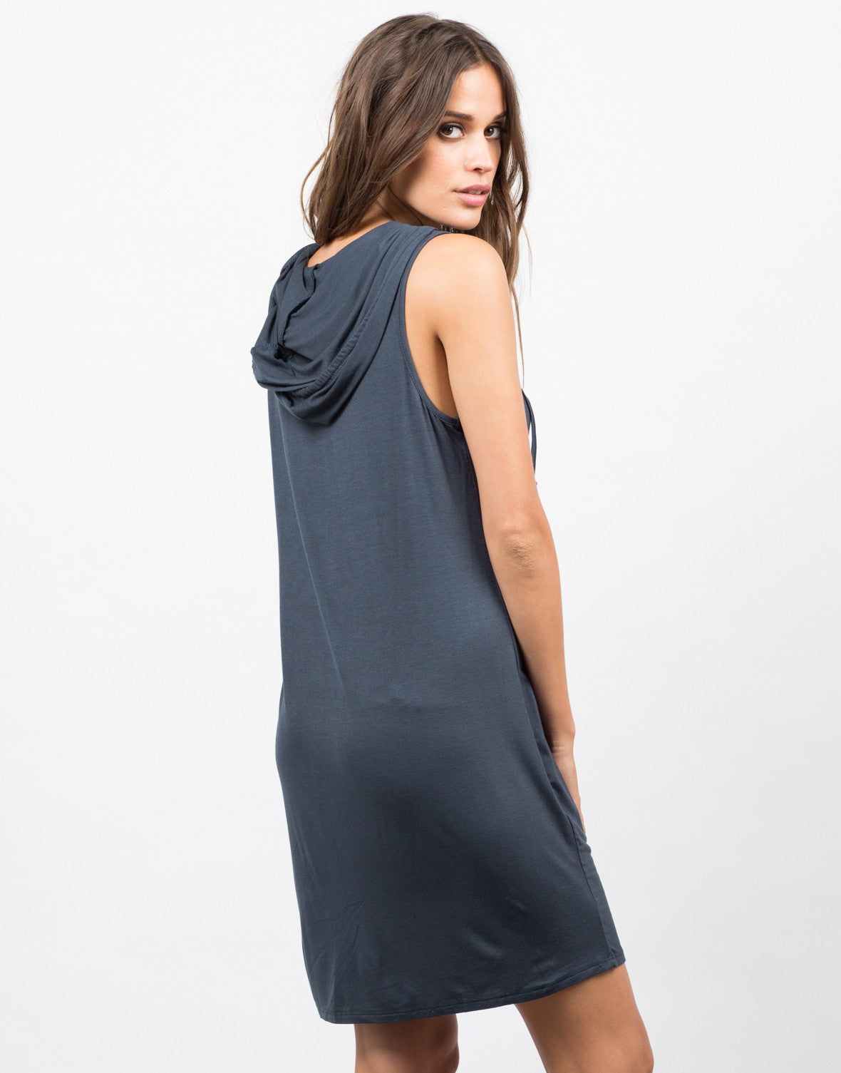 Back View of Hooded Sleeveless Tank Dress