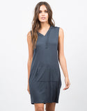 Front View of Hooded Sleeveless Tank Dress