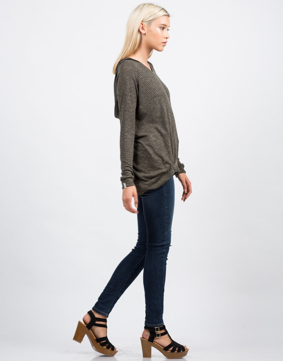 Side View of Hooded Stripe Sweater