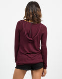 Back View of Hooded Stripe Sweater