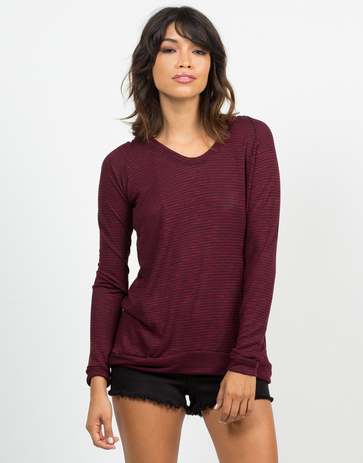 Front View of Hooded Stripe Sweater